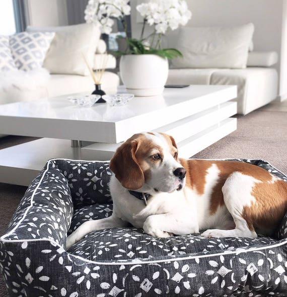 Lounger Dog Bed  - 'Batu' design in Sable canvas print - SMALL, MEDIUM, LARGE