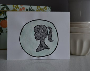 "Hand-Illustrated Blank Card : ""Silhouette"""