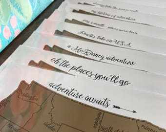 """Personalized Watercolor Scratch Off Map- """"Traveling Blues"""" - United States of America (Made in USA)"""
