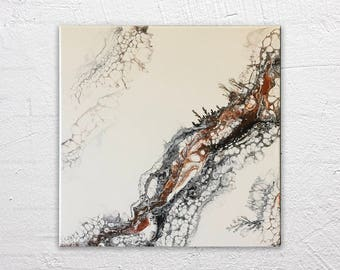 Salt Flats - Abstract Modern Marbled Painting in Black Copper Matte White 12x12