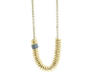 Long Layering Necklace with Brass Rondelle and Greek Mykonos Ceramic Beads