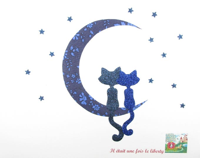 Applied fusible cats in the Moonlight Indigo Capel liberty fabric & liberty glittery cats pattern fusible applique patch