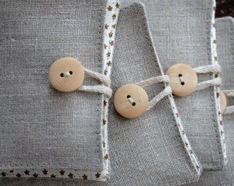 Small Linen Needle Book - Iron or pincushion button