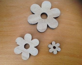 set of 3 carved wood flowers