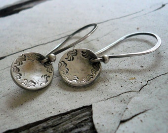Opelika - Oxidized Fine Silver Earrings. Handmade