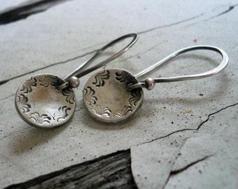 Opelika - Oxidized Fine Silver Earrings. Handmade