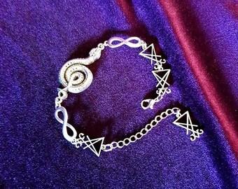 Luciferian Serpent Bracelet - Sigil of Lucifer occult snake jewellery gothic infinity