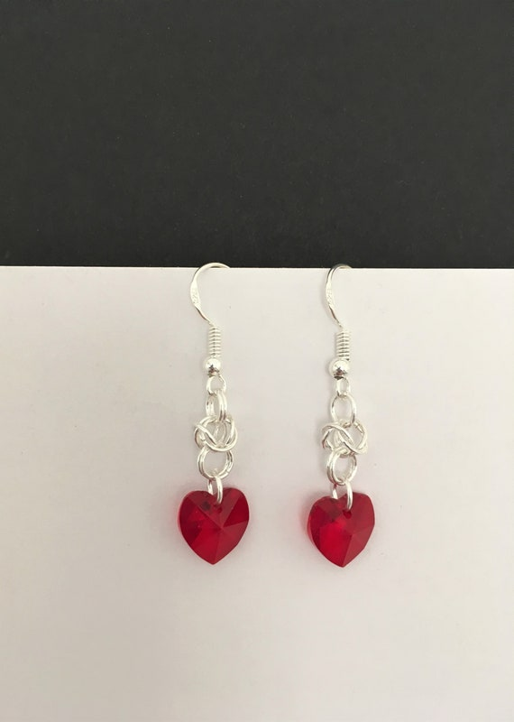 S - 654 Red Swarovski drop earrings