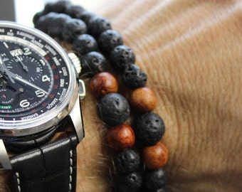 Double Wrap Lava Rock and Thai Wood Beads Mala Bracelet