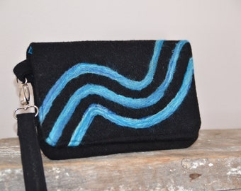 Clutch Black Turquoise Wavy Stripes Felted Purse Handmade