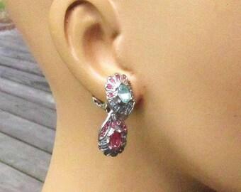 Pink & Blue Rhinestone Earrings - Crystal Encrusted Silver Pierced Stud ClipOns -  Vintage 1980's Jewelry Gift for Her
