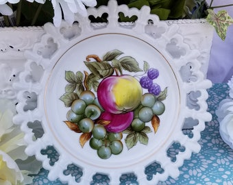 Norcrest Handpainted Plate with Apples, Grapes and Blackberries