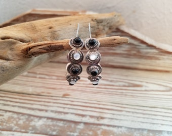 """Sterling silver loop earrings with onyx and white gemstones 1 1/2""""  ethnic earrings black and white gift for her OD2095"""