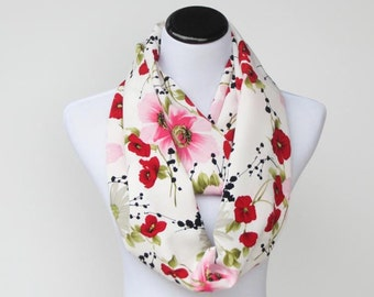 Infinity scarf traditional scarf poppy scarf red white pink poppies daises and dogwoods flowers LONG scarf silky soft loop scarf