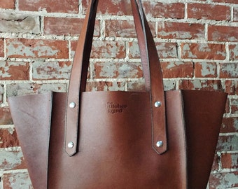 The Small Seamed Tote  (pictured in Whiskey leather)