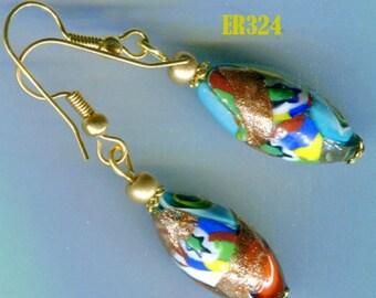 ER324 MORETTI MILLEFIORI Oval Gold Venetian Murano Earrings