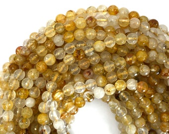 """8mm faceted natural yellow rutilated quartz round beads 15"""" strand 39411"""