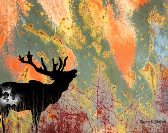 Bugling Elk Art, Orange Green, Grungy Scratchy, Southwestern Wildlife Silhouette, Textured Home Decor, Wall Hanging, Giclee Print, 8 x 10