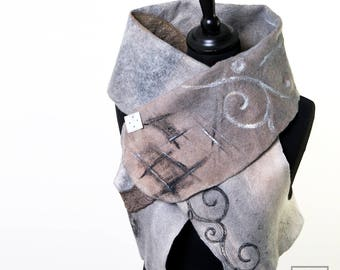 Outstanding Wearable Art Women Garment - Felted Merino Wool Vest - Paris Design Earth shaded -  Reversible Women Vest - Convertible Bolero