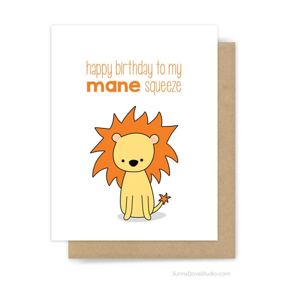 Funny birthday card for boyfriend husband him lion pun mane funny birthday card for boyfriend husband him lion pun mane squeeze fun leo love happy bday handmade punny greeting cards gifts gift ideas bookmarktalkfo Images