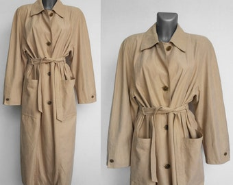 Vintage trench coat, Belted, Beige Womens, Khaki trench coat