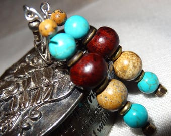 Earrings in turquoise and Jasper - holidays gift idea