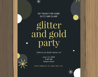 Custom Birthday Party Invitation Glitter and Gold Glitz Glamour