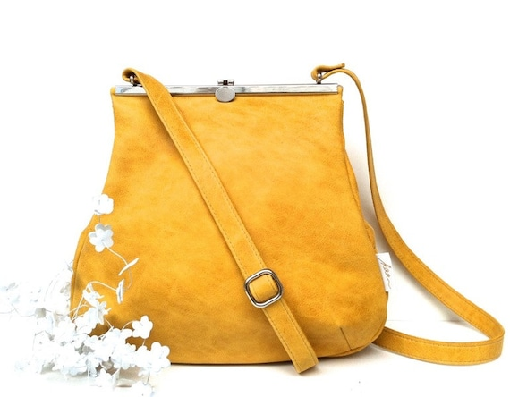 Everyday Bag, Her Leather Bag, Sling Leather Bag, Minimalist Bag Women, Leather Carryall   Yellow Leather Handbag with Retro Clip Closure