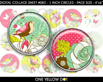 INSTANT DOWNLOAD - 1 Inch Circles Digital Collage Sheet - Vintage Flowers and Birds - Bottle Caps Scrapbooking Pendant Magnets Tags - 082