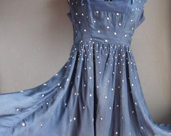 Blue silk dress - 50's dress - party dress - burlesque  - dotty dress - silk dress - polka dot dress - pin up dress - prom dress - tea dress