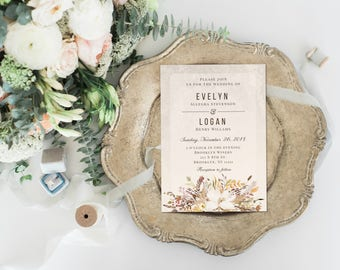 Rustic Fall Floral Wedding Invitation, Boho Wedding Invitation, Matching RSVP & Details Card, Printable Invitation, Digital Invitation