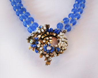 Miriam Haskell collar with sapphire Murano glass beads and manipulated pendant