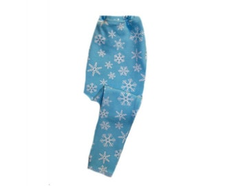 Blue Snowflake Baby Winter Legging Pants 6 Sizes for Preemie, Newborn and Toddlers up to 24 Months. Perfect for Christmas or Hanukkah.
