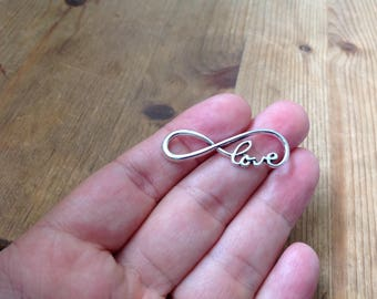 10pcs Infinity Love Carm Silver Pendant Tibetan Love Charm Eternity Love