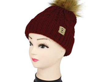 beanie womens warm winter beanie hand made very stylish with pompom beanie with a lot of warm comfortable faux fur lining and a cool pompom