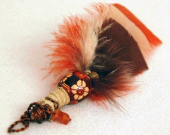 Feather Pendant, Fashion Pendant, Wire Wrapped Feather Pendant, Orange Tan n Brown Feather Leather Wood and Wire Pendant