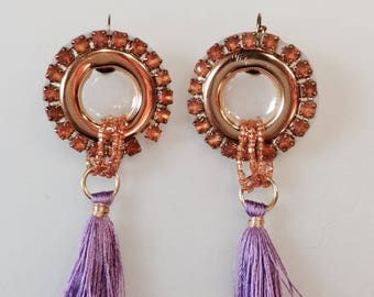 Resin disc earring and tassels
