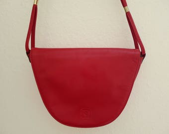 Pierre Cardin red shoulder bag, vintage 70's
