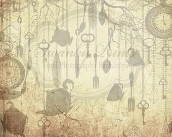 10ft x 10ft  / Vinyl Photography Backdrop / Grunge Alice in Wonderland Tea Party