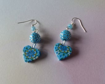 Pair of blue rhinestone earrings