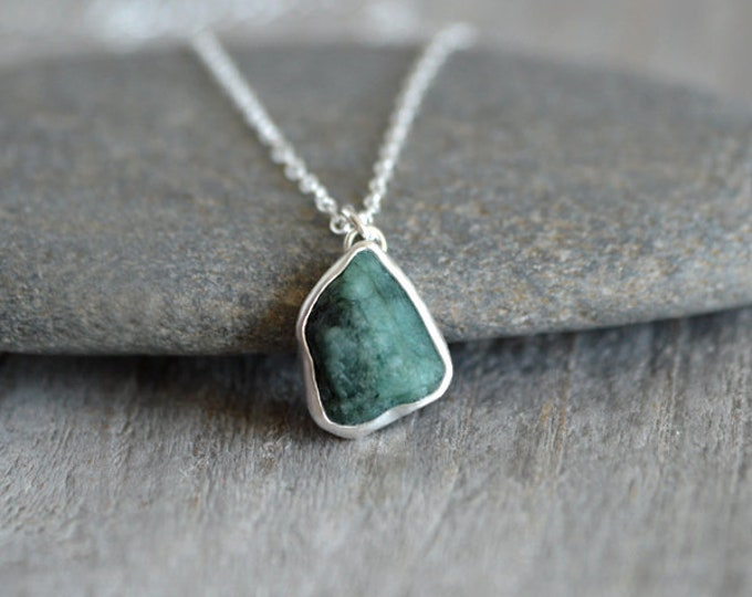 Raw Emerald Necklace, 3.60ct Emerald Necklace, May Birthstone, Small Emerald Necklace Handmade In The UK