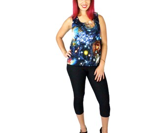 ON SALE!! Midnight Galaxy Space Criss Cross Top