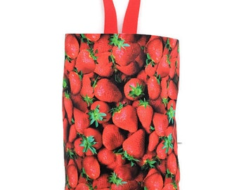 Strawberry Car Trash Bag, Car Litter Bag with Handle and Waterproof Lining, Car Accessory for Trash, Hanging Car Litter Bag, Auto Trash Bag