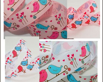 10 yards 3/8~ 7/8 inch 9mm~22mm Valentine Cute Heart Birds Grosgrain Ribbon