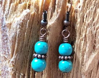 Turquoise Magnesite Earrings, Beaded Earrings, Blue Earrings, Boho Earrings, Minimalist Earrings, Women's Earrings, Gift for her