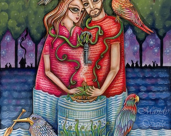 The Exclusive Party - an 8 x 10 ART PRINT for couples lovers & best friends who are unified and happily tied at the hip by unquie lifestyles