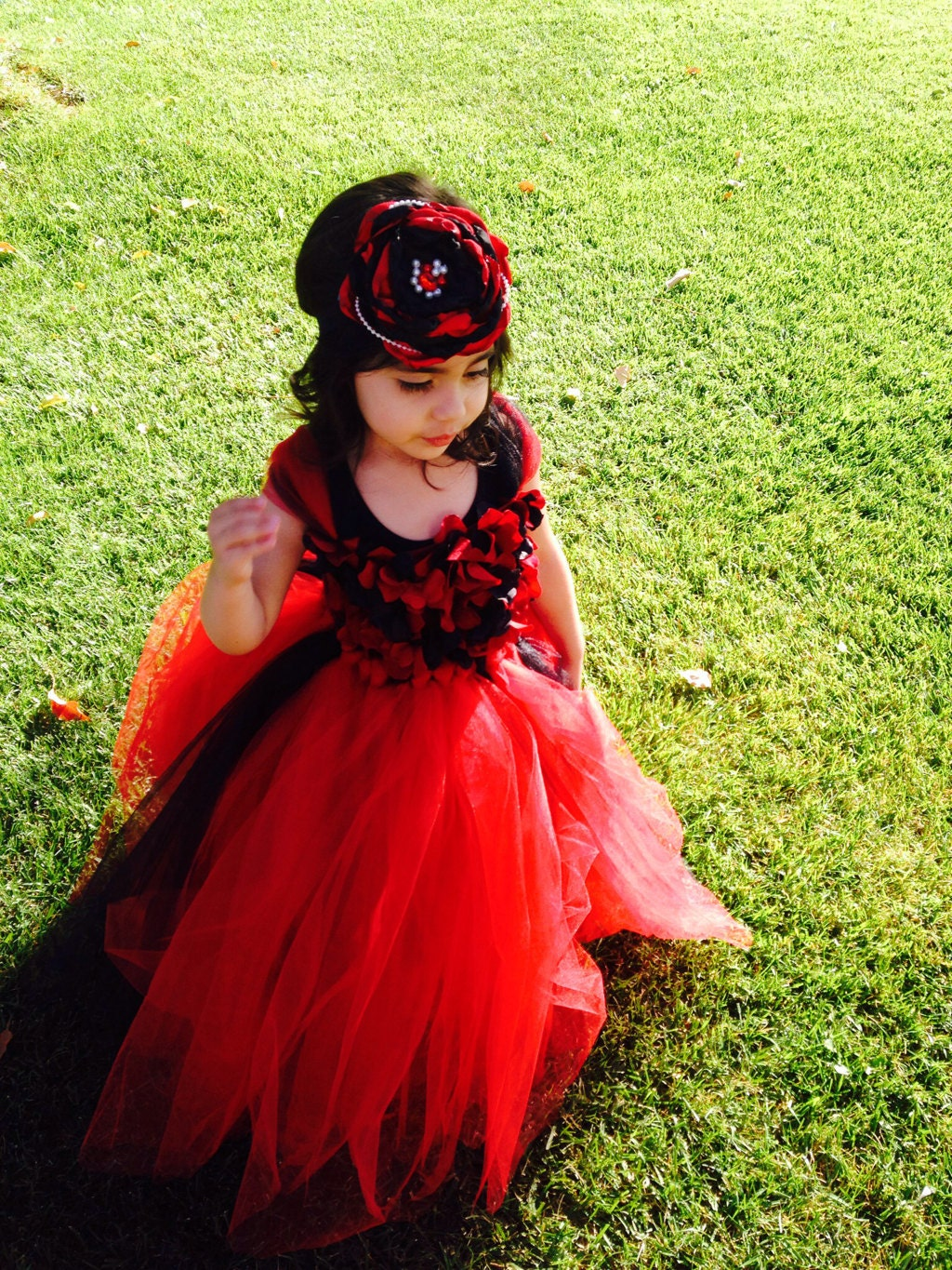 Red and Black Flower Girl Dresses