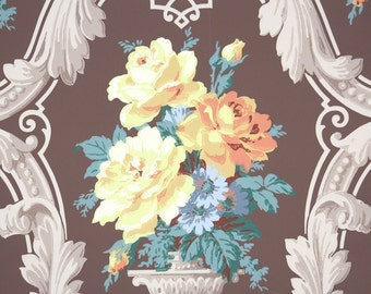 1940s Vintage Wallpaper by the Yard - Yellow and Orange Roses with Blue Leaves and Flowers