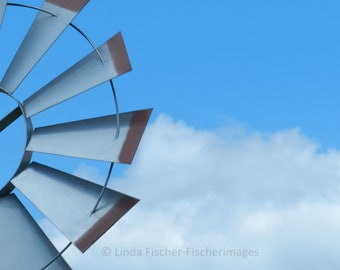 Windmill with Blue Sky and White Puffy Clouds Farm Wall Art Home Decor Digital Download Linda Fischer Fischerimages Fine Art Photoagrapy