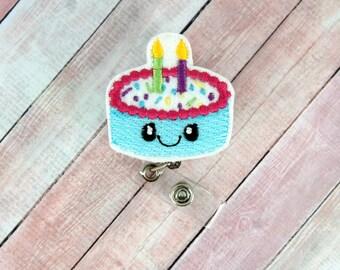 Birthday Cake Badge Reel - Birthday Cake - Feltie Badge Reel- Retractable ID Badge Holder - Badge Pull.
